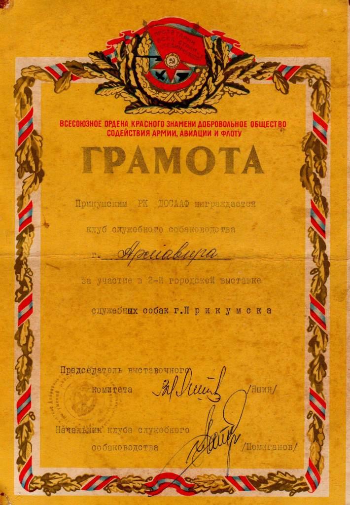 Грамота Прикумского РК ДОСААФ 1974 г.