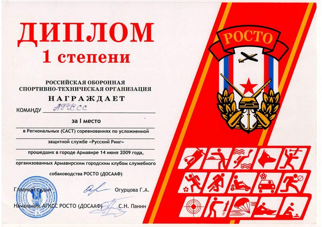 Диплом 1 ст. за участие в соревнованиях 2009 г.