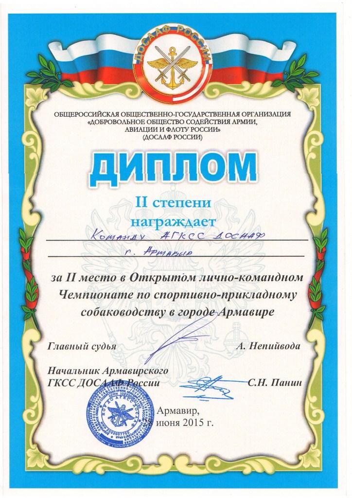 2-е командное место на Открытом л-к Чемпионате по ОКД и ЗКС 28.06.15.